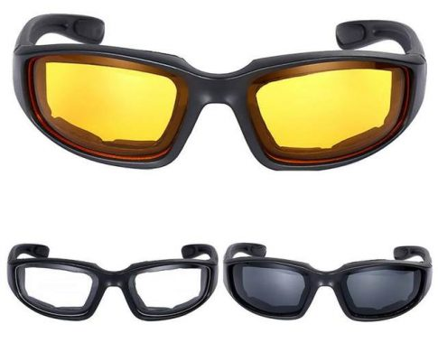 Motorcycle Riding Glasses Wind Resistant Shatterproof Black Frame Goggles Eye Protection Review