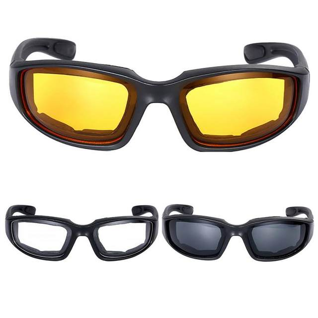 Motorcycle Riding Glasses Wind Resistant Shatterproof Black Frame Goggles Eye Protection