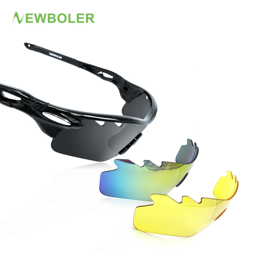 NEWBOLER Man/Women Polarized Cycling Glasses Outdoor Sports SunGlasses MTB Bike Eyewear Racing Bicycle Sunglasses Goggle 3 Lens