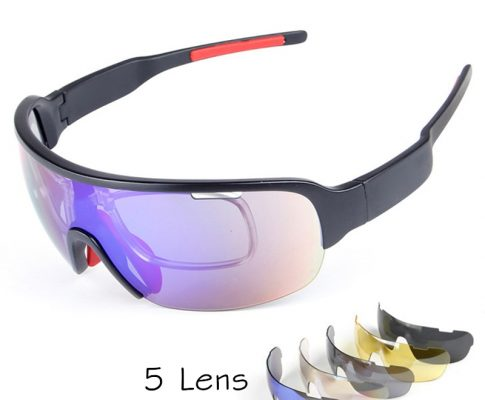 Hot 5 Lens Polarized Cycling Glasses With Myopia Frame Racing Bicycle Sunglasses TR90 UV400 Cycling Eyewear Bike Fishing Goggles Review