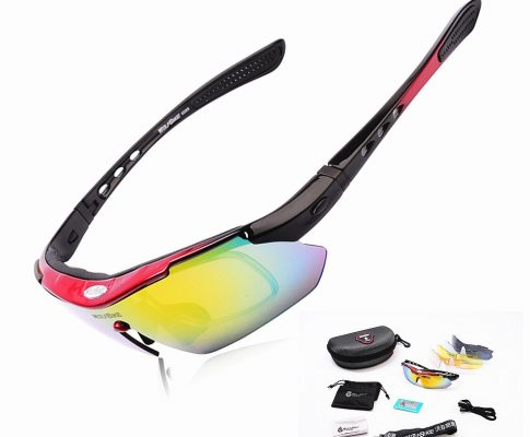 WOLFBIKE Polarized 5 Lens Cycling Eyewear Sun Glasses Mens Sports Bicycle Glasses Bike Sunglasses Driving Skiing Goggles Red Review
