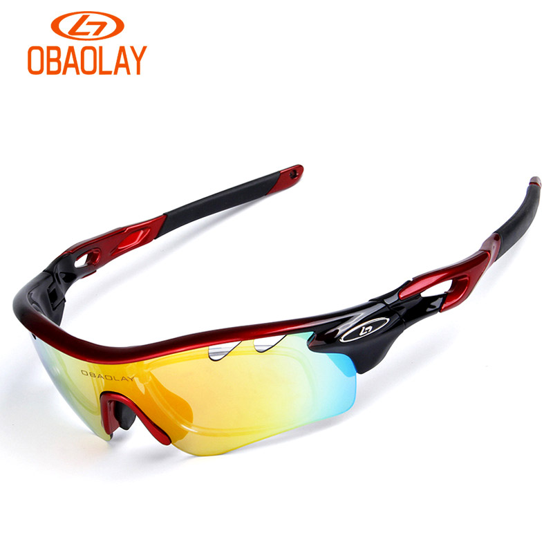 OBAOLAY 5 lens Polarized Cycling Sunglasses Sport Cycling Glasses Mens Mountain Bike Goggles UV400 Cycling Eyewear Bicycle Glass