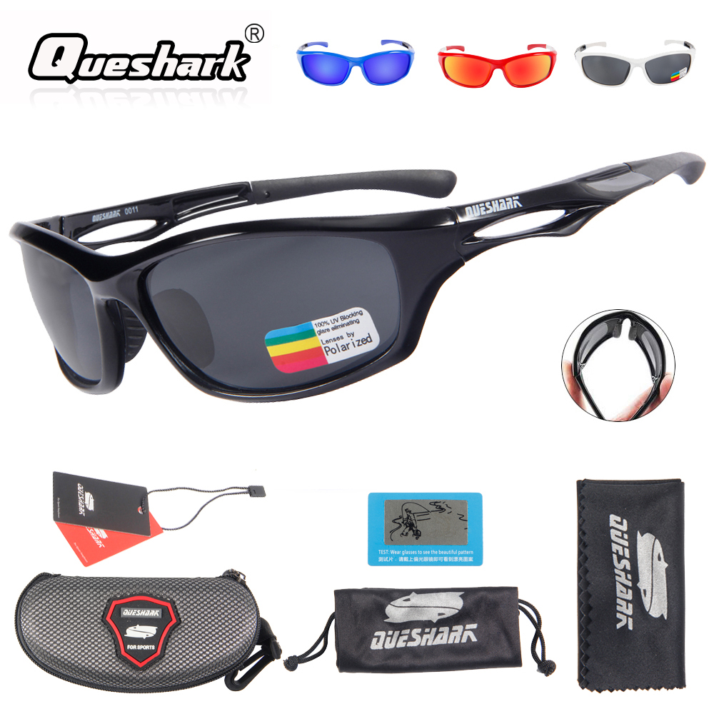 Queshark Men Women Cycling Polarized Sunglasses Bike Glasses TR90 Uv400 HD Lens Bicycle Goggles Fishing Glasses Riding Eyewear
