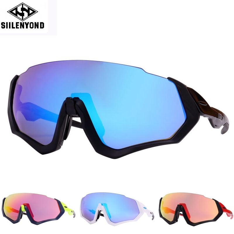 Siilenyond 3 Lens Polarized Cycling Sunglasses Men Outdoor Sport Bike Glasses Bicycle Sunglasses Cycling Glasses Cycling Eyewear