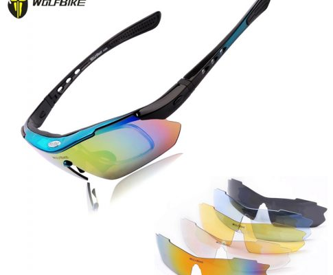WOLFBIKE Polarized Cycling Glasses Bike Goggles Outdoor Sports Bicycle MTB Road Bike Cycling Sunglasses Fishing Eyewear, 5 Lens Review