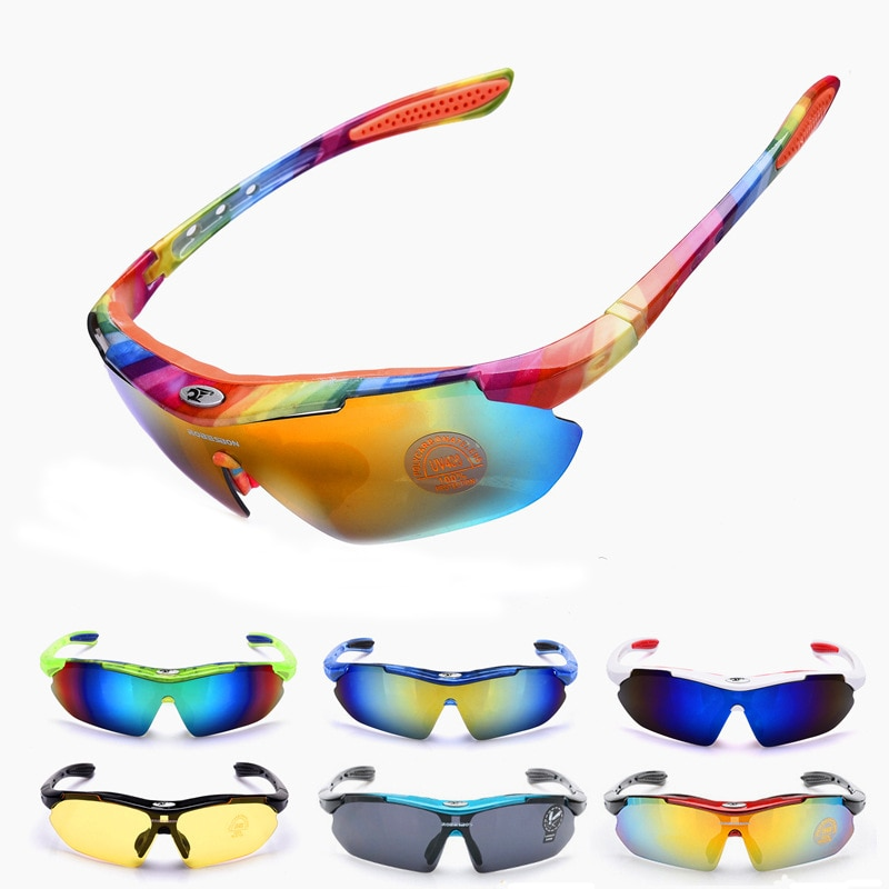 2018 New Come Rainbow Cycling Glasses UV400 Bike Bicycle Outdoor Sports Riding Goggles Anti-UV Fishing Driving Eyewear 14 Color
